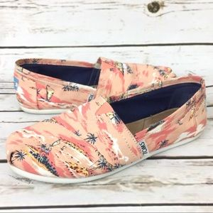 Toms Coral Palm Trees Beach Slip On Shoes Flats